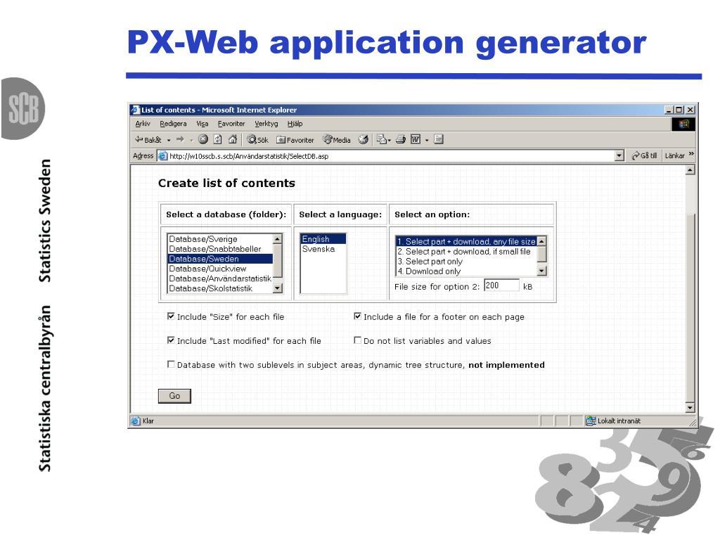 PX-Web application generator