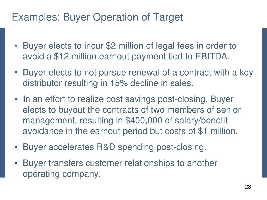 Examples: Buyer Operation of Target