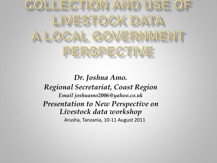 collection and use of livestock data a local government perspective n.