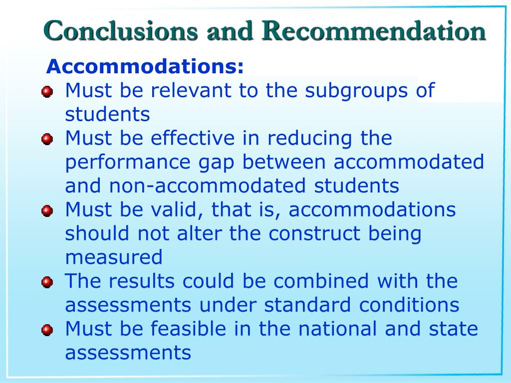 Conclusions and Recommendation