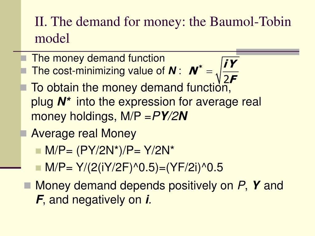money demand function