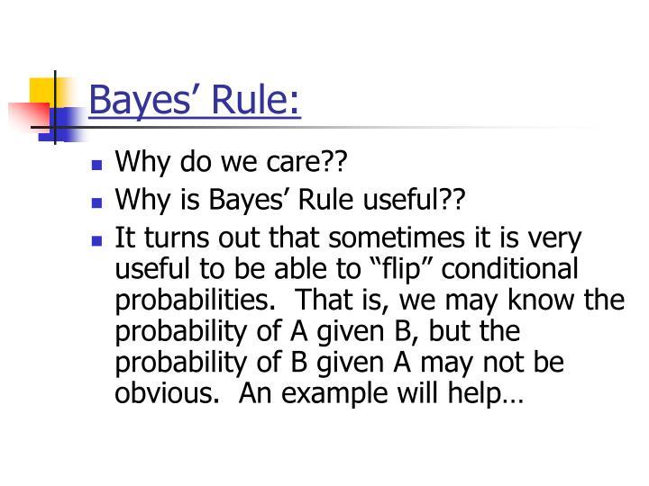 Bayes' Rule: