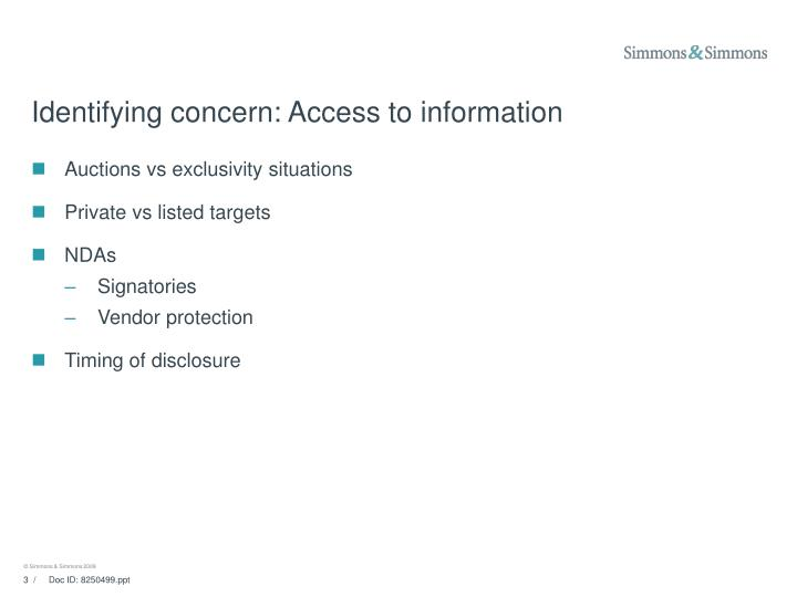 Identifying concern access to information