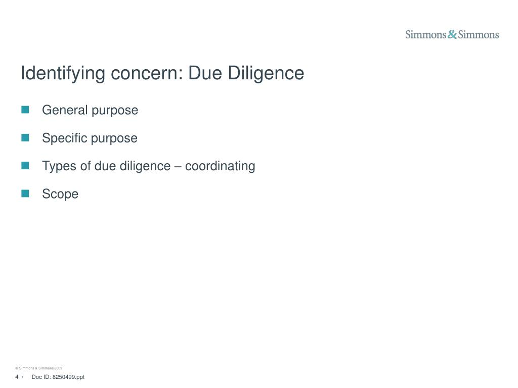 Identifying concern: Due Diligence