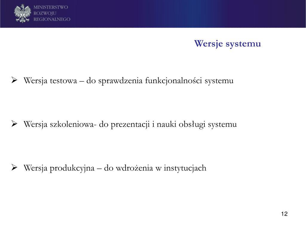 Wersje systemu