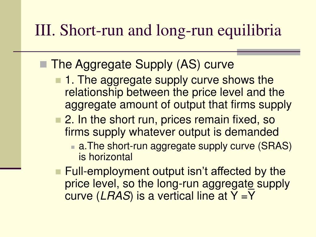 III. Short-run and long-run equilibria
