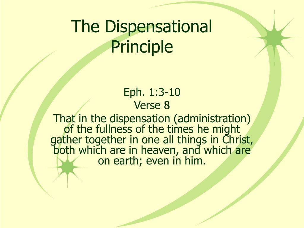 the dispensational principle l.