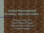 general musculoskeletal screening upper extremities
