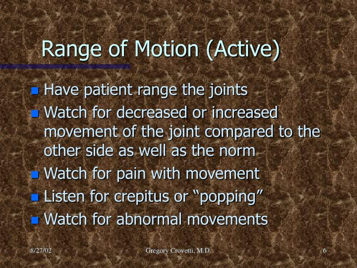 Range of Motion (Active)