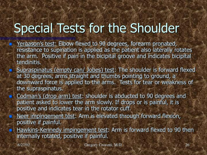 Special Tests for the Shoulder