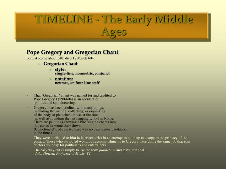 Timeline the early middle ages