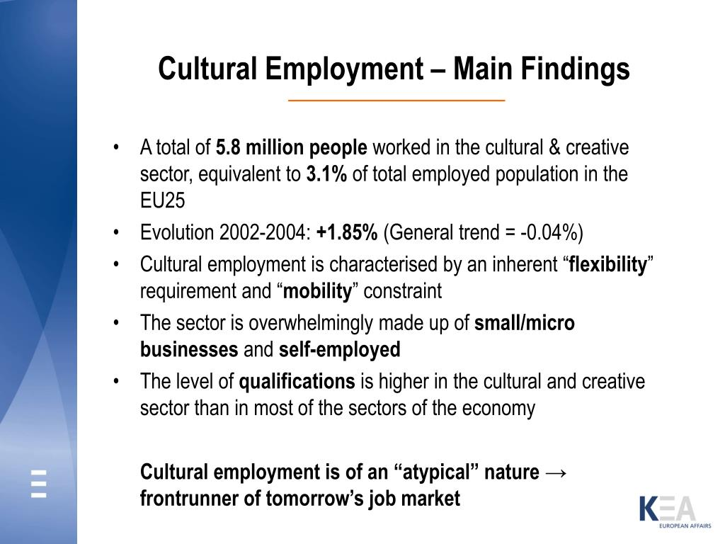 Cultural Employment – Main Findings