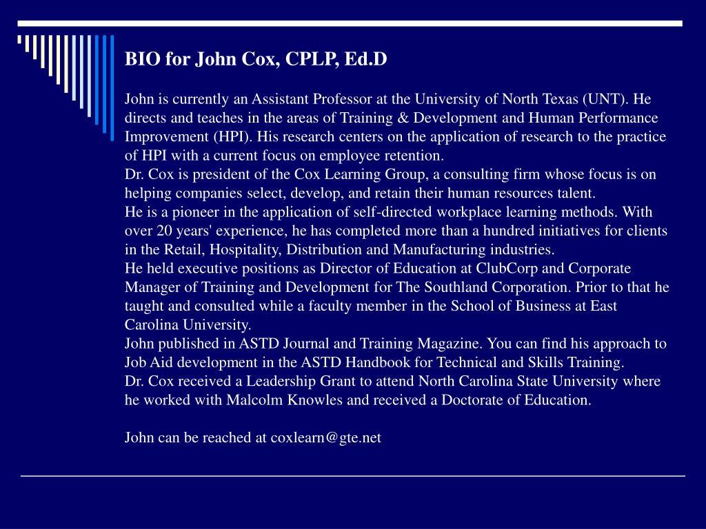 BIO for John Cox, CPLP, Ed.D