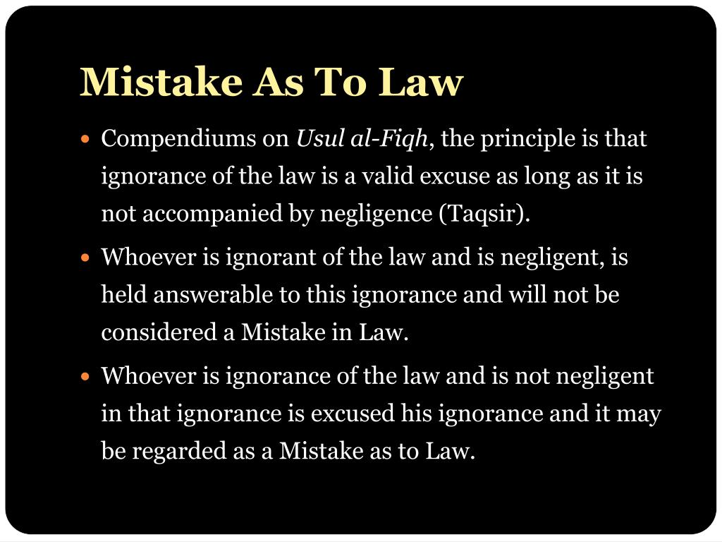 Mistake As To Law