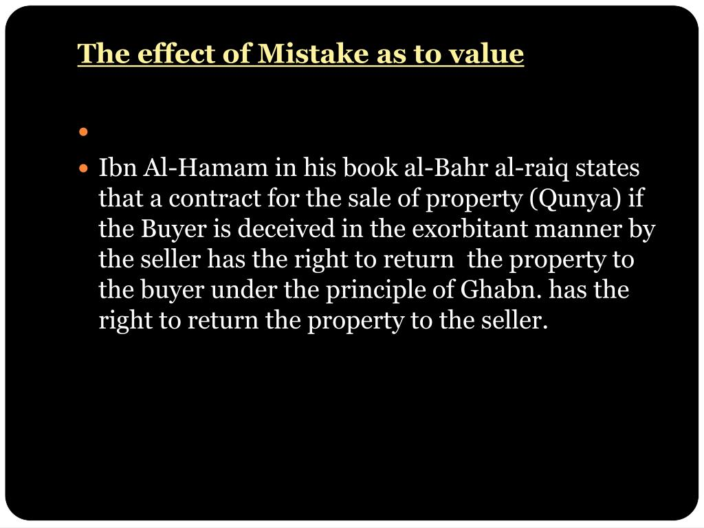 The effect of Mistake as to value