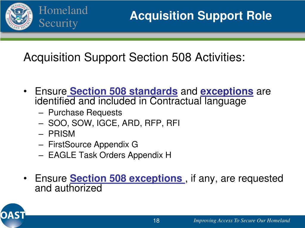 Acquisition Support Role