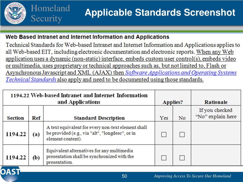 Applicable Standards Screenshot