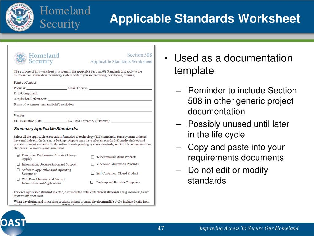 Applicable Standards Worksheet