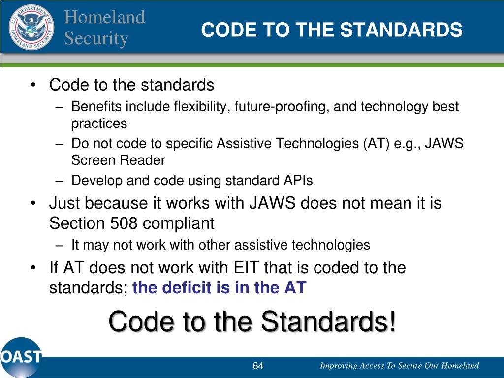 CODE TO THE STANDARDS