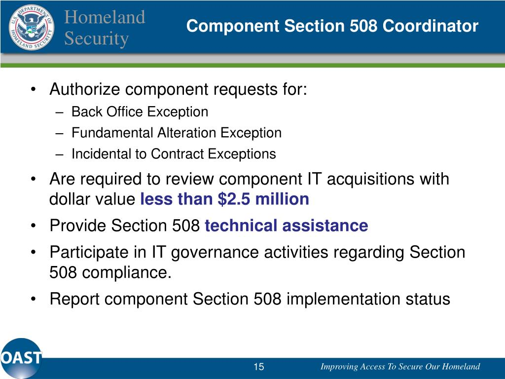 Component Section 508 Coordinator
