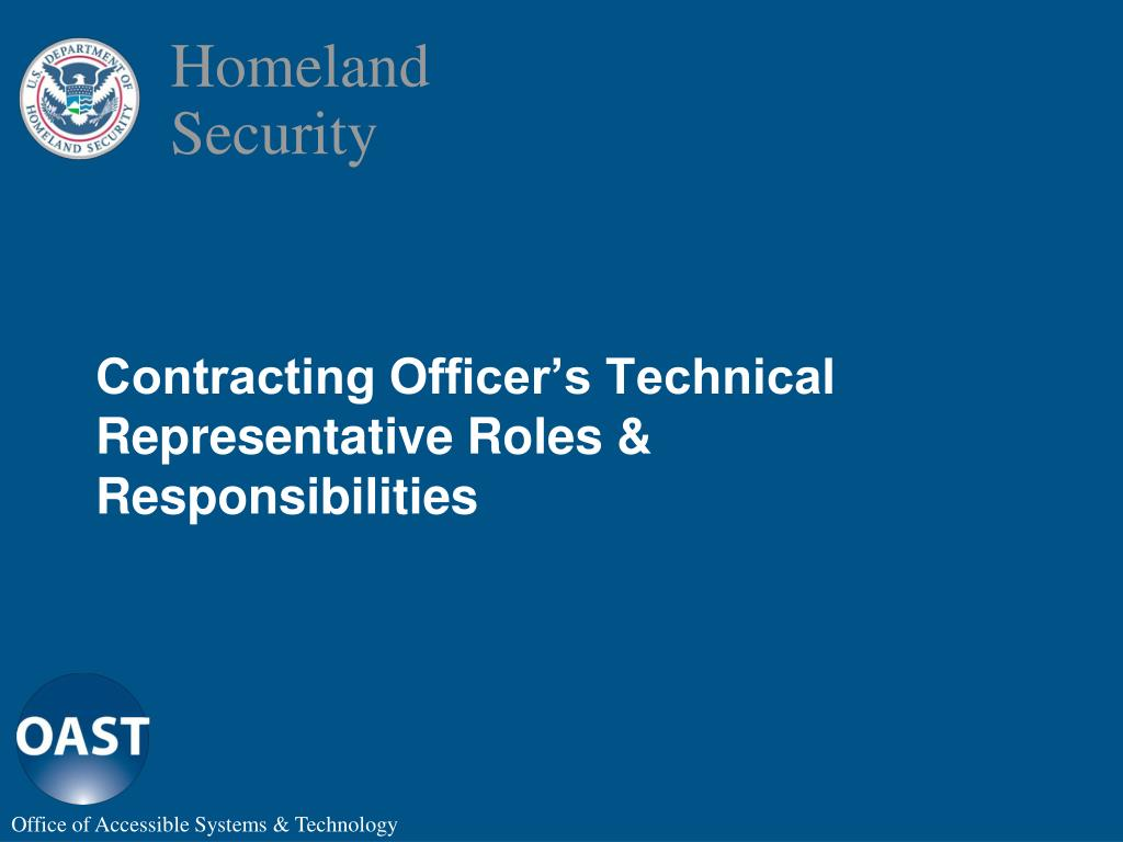 Contracting Officer's Technical Representative Roles & Responsibilities