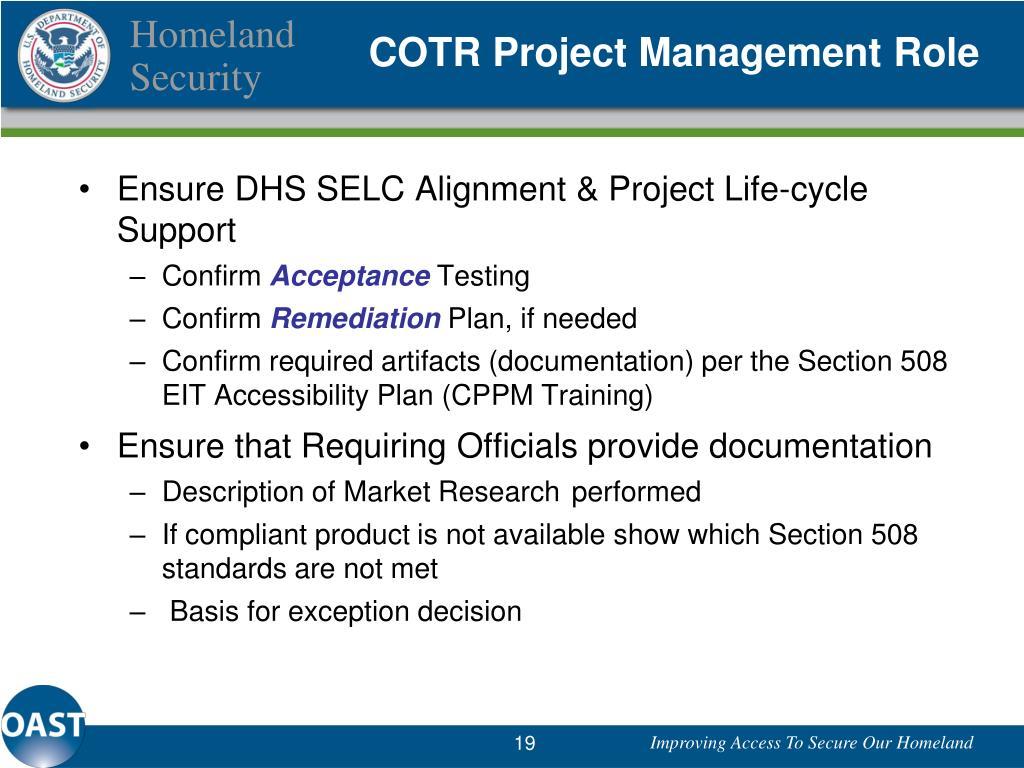 COTR Project Management Role