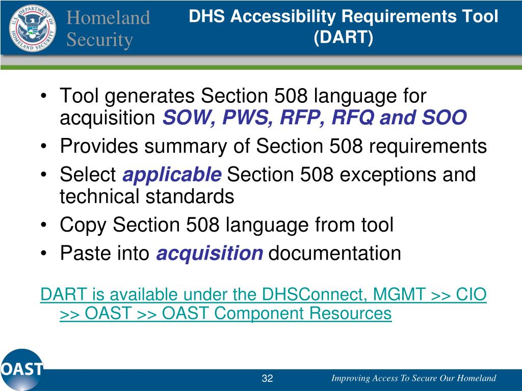 DHS Accessibility Requirements Tool (DART)