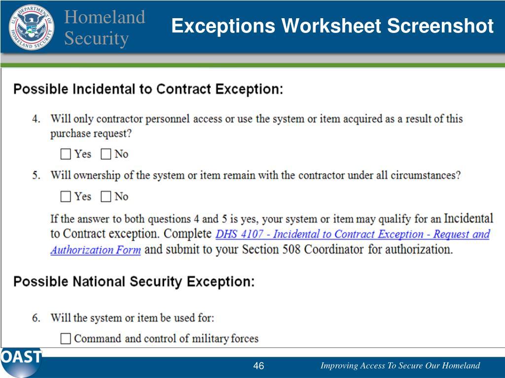 Exceptions Worksheet Screenshot