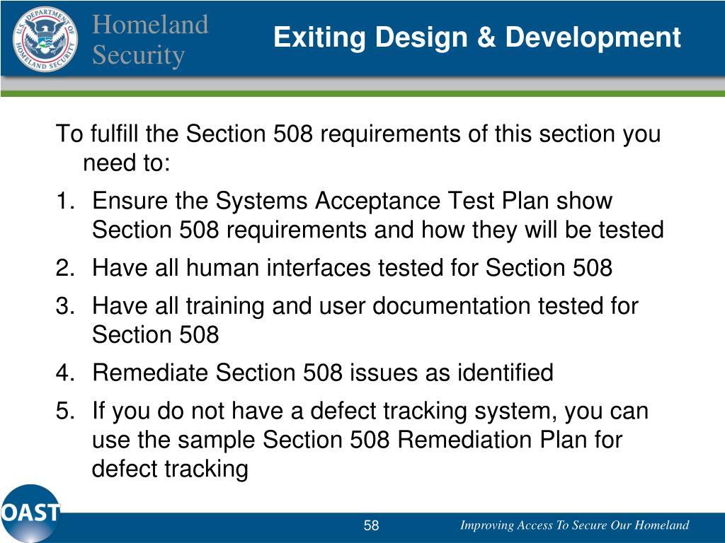 Exiting Design & Development