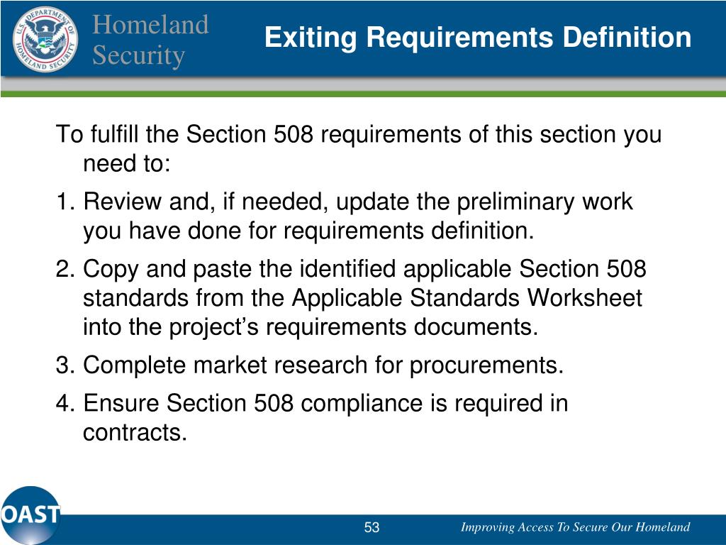 Exiting Requirements Definition