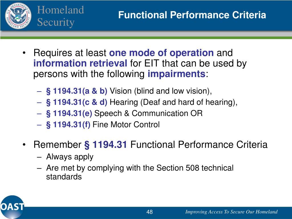 Functional Performance Criteria