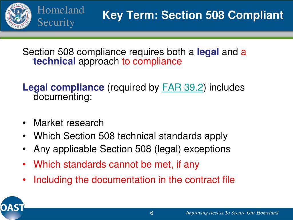 Key Term: Section 508 Compliant