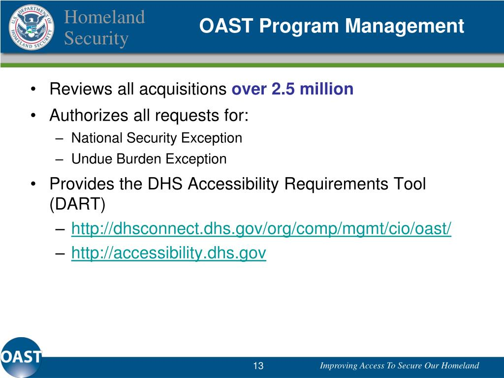 OAST Program Management