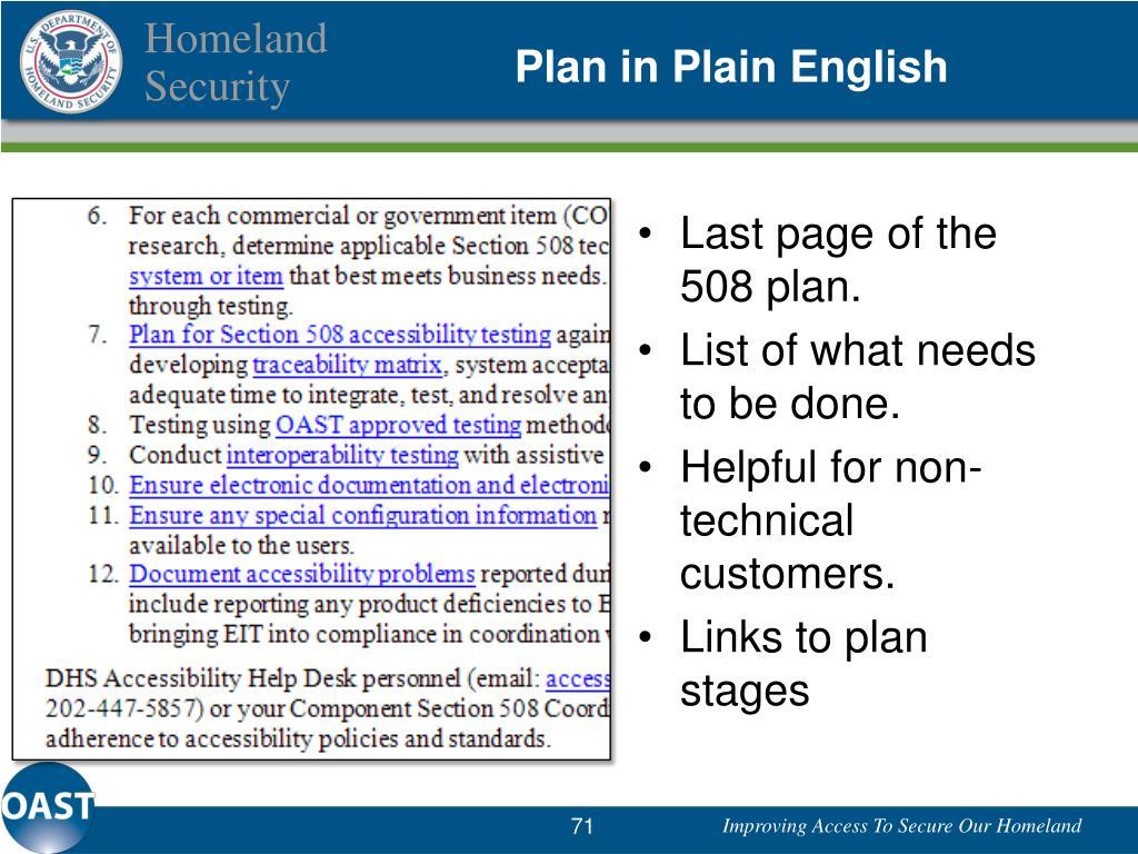 Plan in Plain English