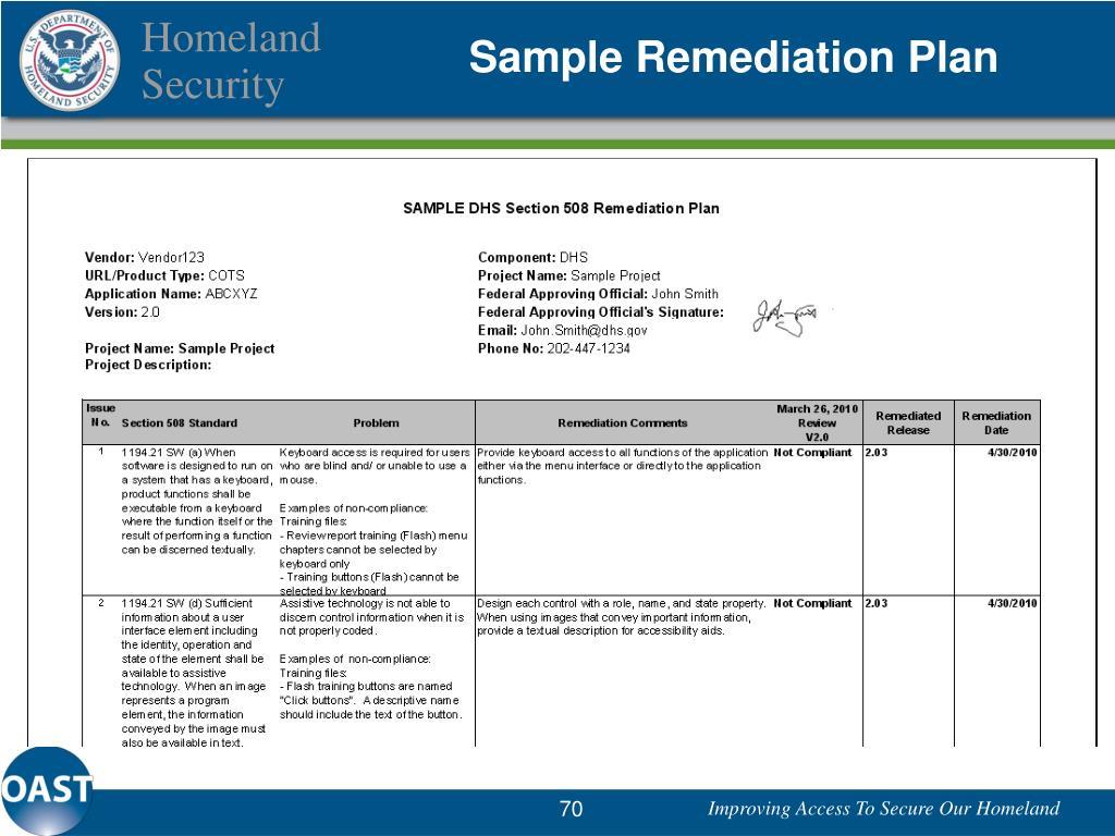 Sample Remediation Plan