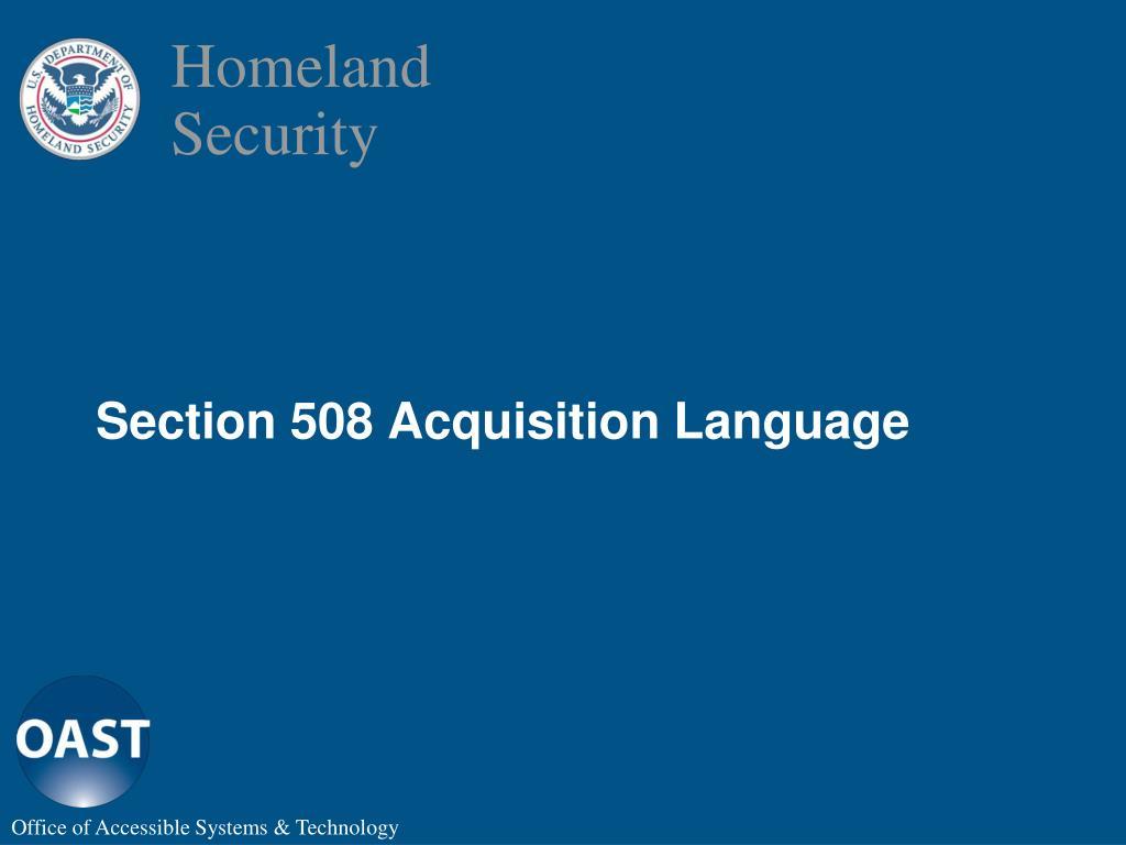 Section 508 Acquisition Language