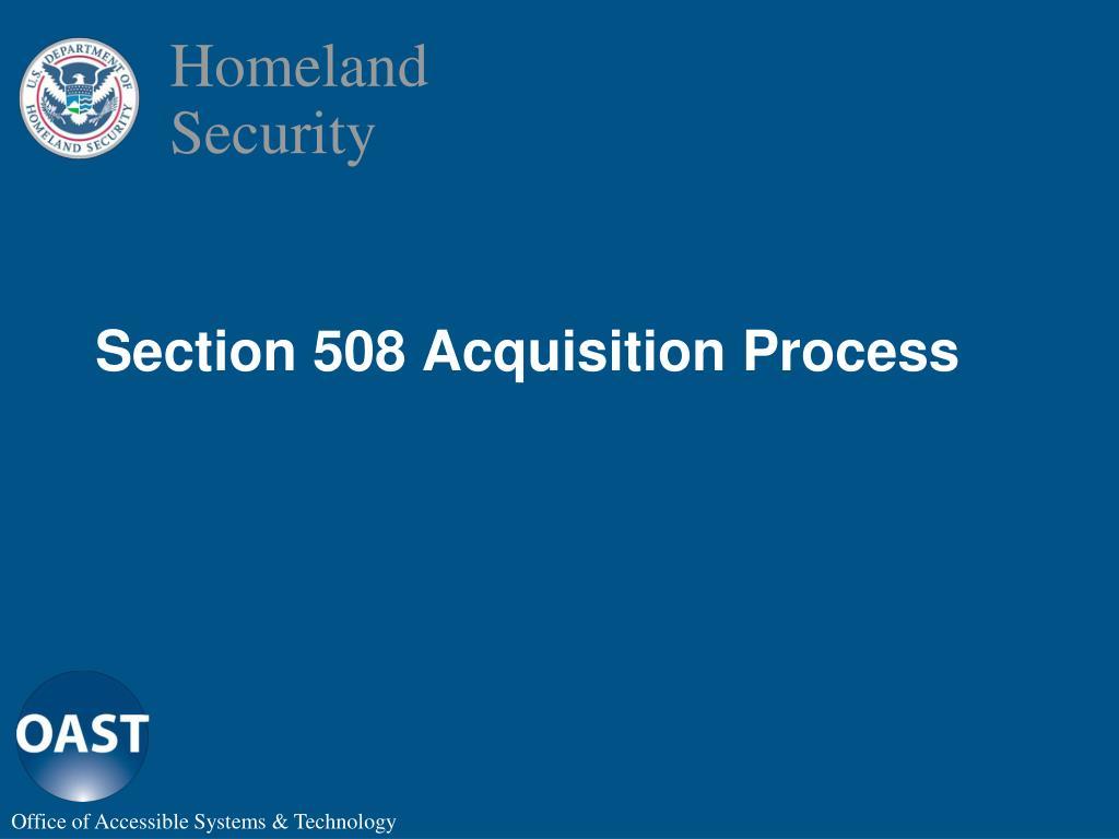 Section 508 Acquisition Process