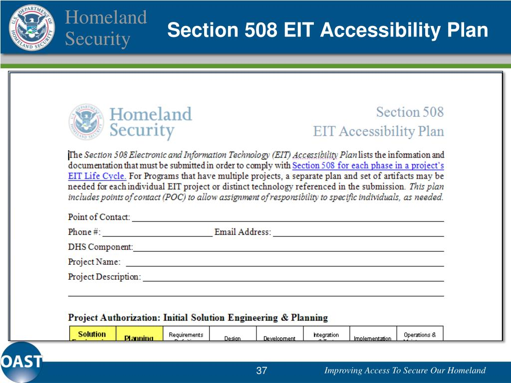 Section 508 EIT Accessibility Plan