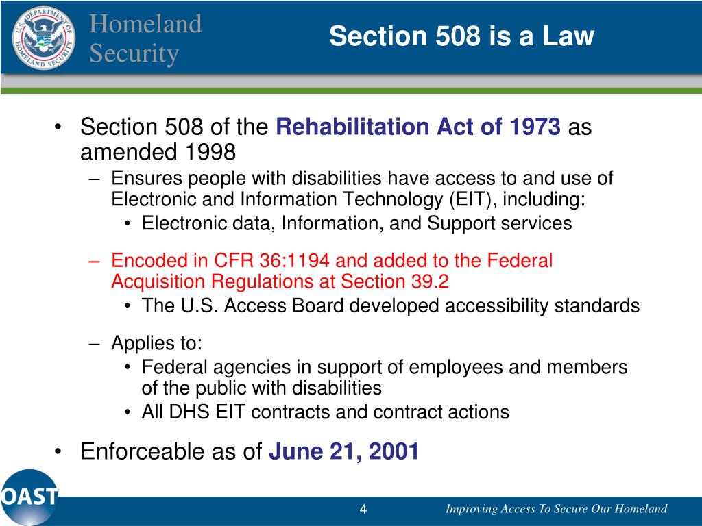 Section 508 is a Law