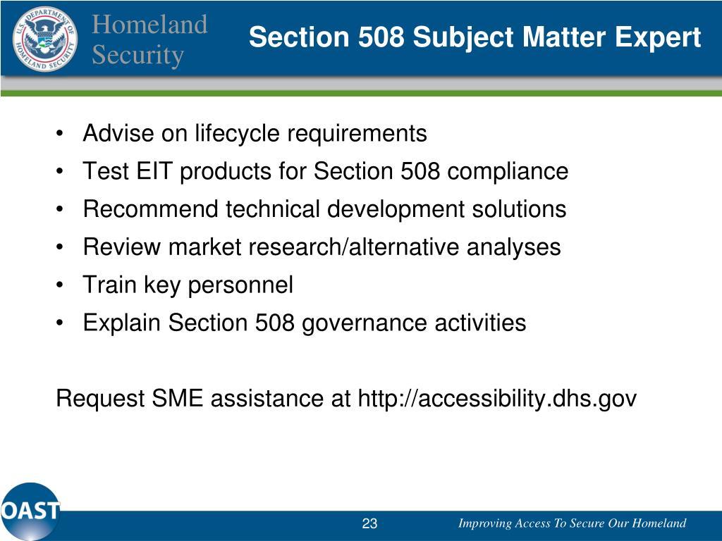 Section 508 Subject Matter Expert