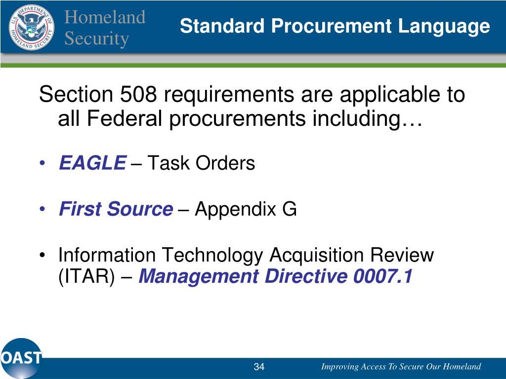 Standard Procurement Language