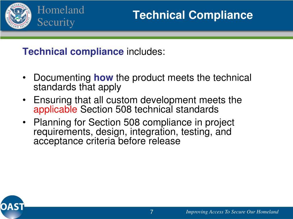Technical Compliance