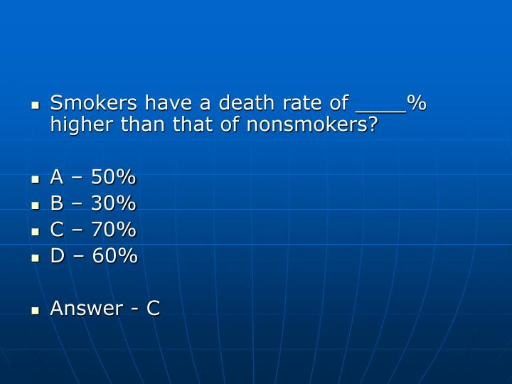 Smokers have a death rate of ____% higher than that of nonsmokers?