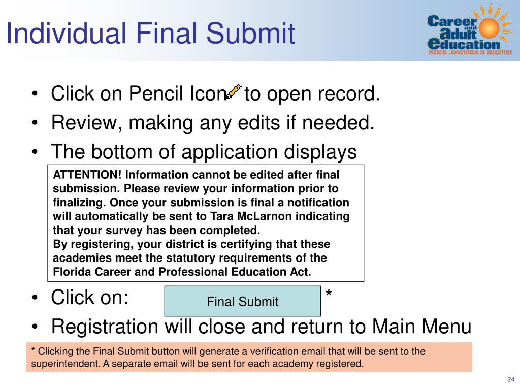 Individual Final Submit