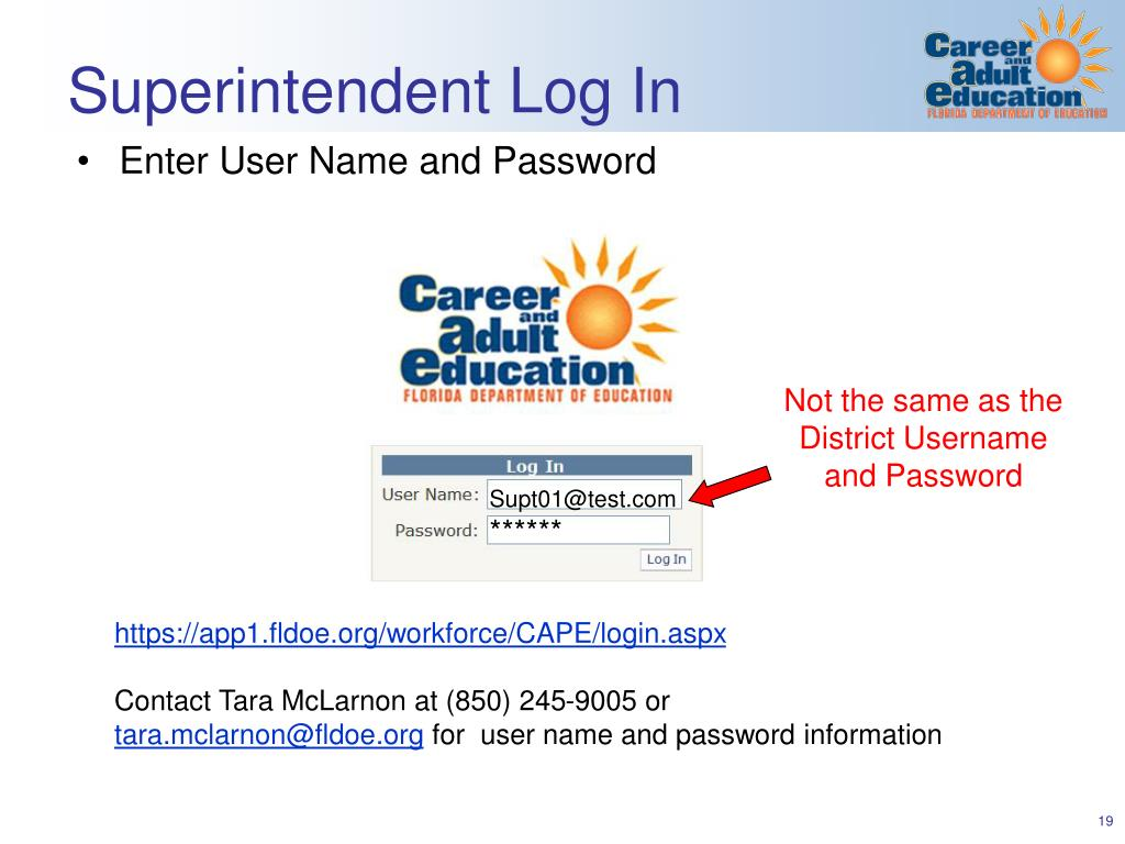 Superintendent Log In