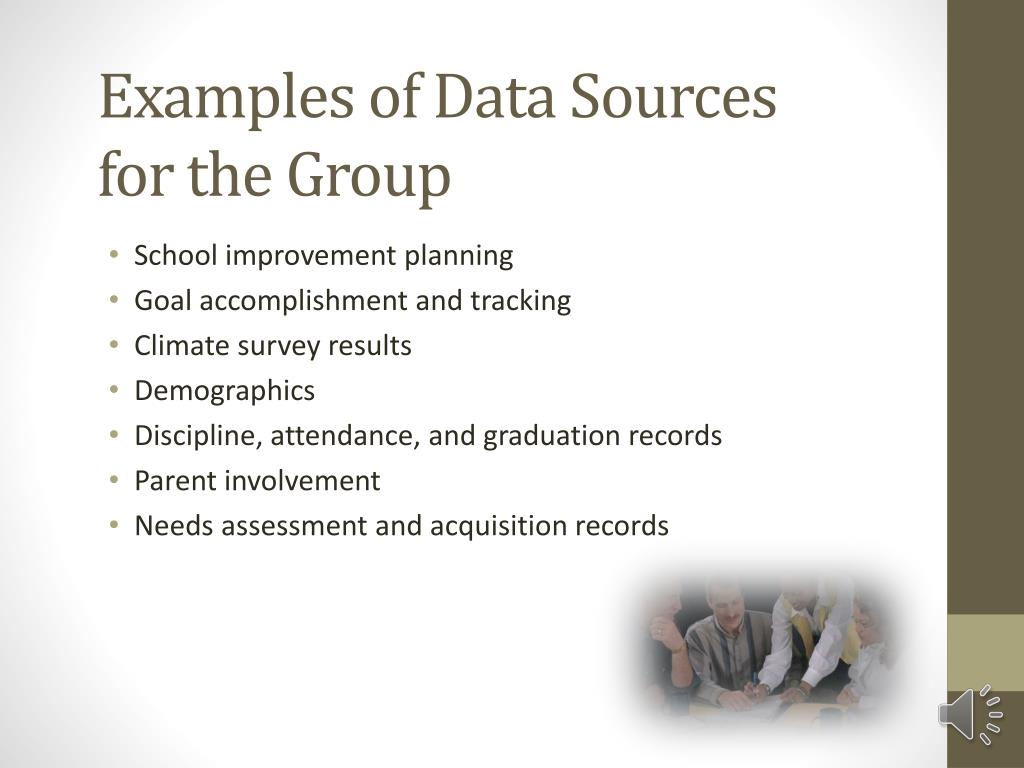 Examples of Data Sources for the Group