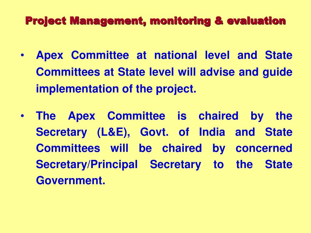 Project Management, monitoring & evaluation