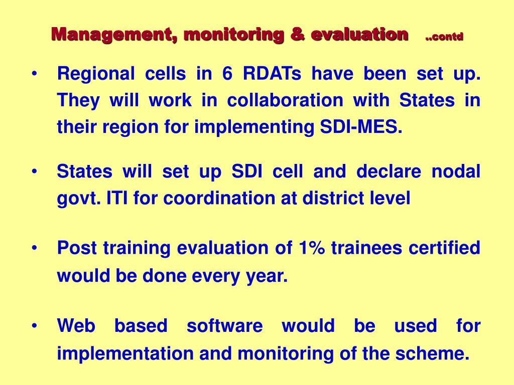 Management, monitoring & evaluation