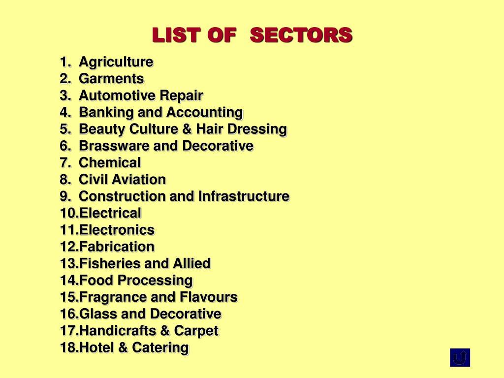 LIST OF  SECTORS