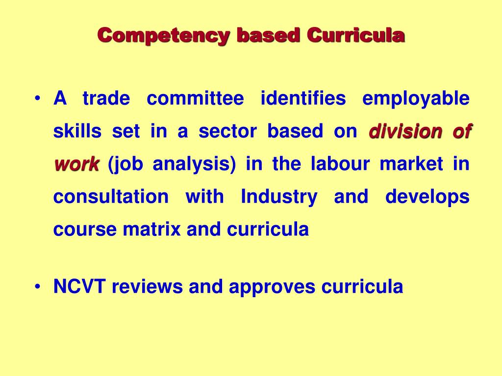 Competency based Curricula